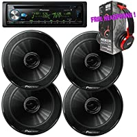 Package - 2 Pairs of Pioneer TS-G1645R 6-1/2 2-way 250W Speaker + Pioneer DEH-X6900BT Single-DIN In-Dash Bluetooth CD Receiver + Free EBH700 Headphone