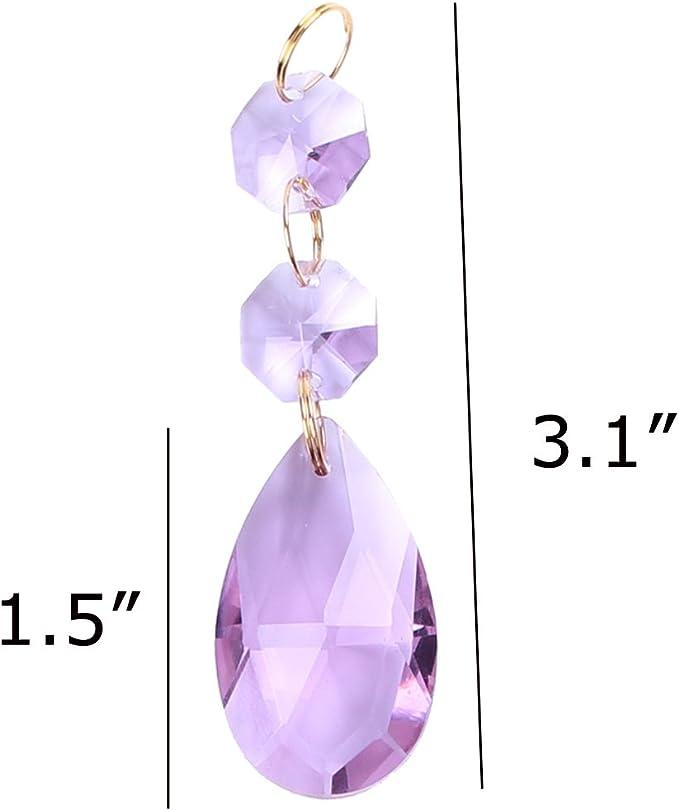 50x33mm Teardrop Pear shape Light Purple Lilac Color Egyptian Crystal Chakra Statement Pendant Genuine 375 9ct 9k Yellow Gold