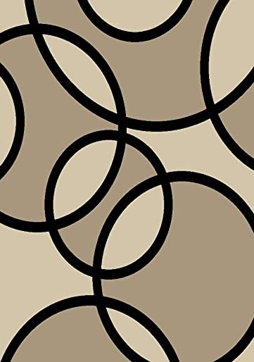 Rugshop Contemporary Abstract Circles Area Rug 2 x 3 Beige