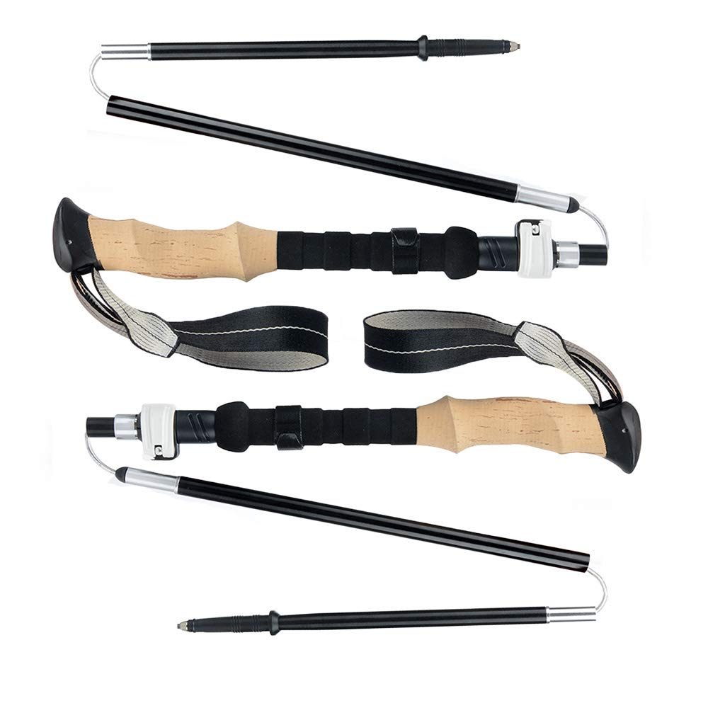 YINKUU Trekking Poles, Folding Hiking Poles, Collapsible Tri-fold Hiking Poles, 2 Adjustable Lightweight Aluminum Walking Sticks, Suitable for Walking, Trekking and Backpacking