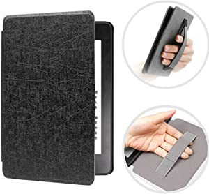 CASZONE Flip Case for Kindle Paperwhite 2018 with Hand Grip (10th Gen - 2018 Release Only), Ultra Slim Thin PU Leather + PC Hard Back Cover Rugged Smart Protective Cover with Auto Sleep/Wake,Black