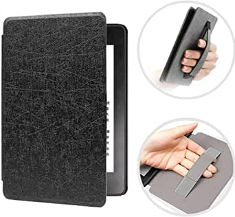 CASZONE Flip Case for Kindle Paperwhite 2018 10th Generation with Hand Strap Holder, Ultra Slim Thin PC Leather Shockproof Smart Pattern Cover with Auto Sleep/Wake 6.0 Inch