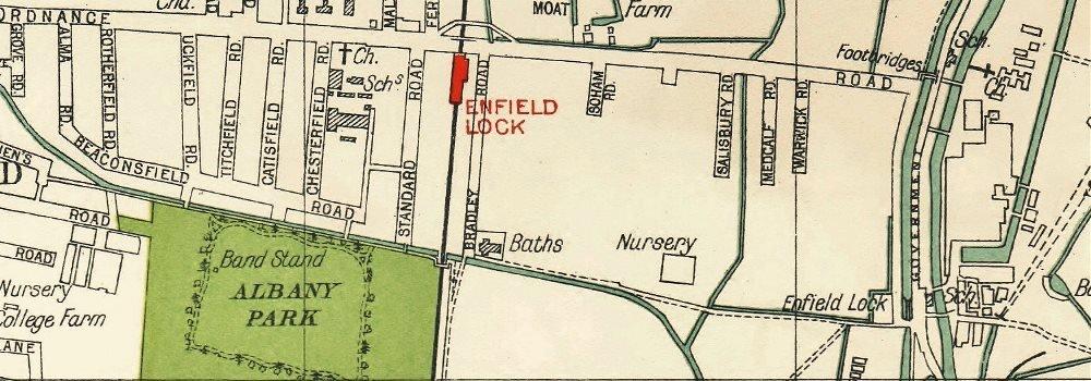 ENFIELD Lock Wash Highway; Waltham Cross Brimsdown Freezy Water 1933 old map