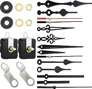 2 Piezas Mecanismo de Movimiento de Reloj,con 5 Diferentes Pares de Manecillas para DIY Reparación de Reloj Reemplazo de Piezas