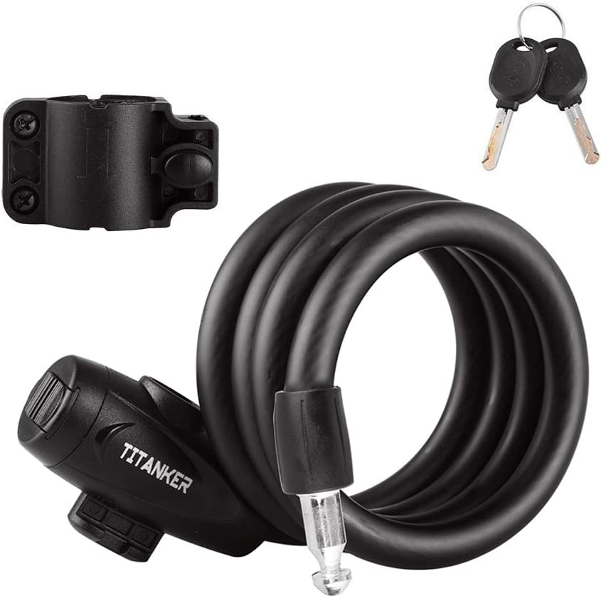 Titanker Bike Lock, Bike Locks Cable Lock Coiled Secure Keys Bike Cable Lock with Mounting Bracket, 4 Feet x 1 2 Inch Diameter