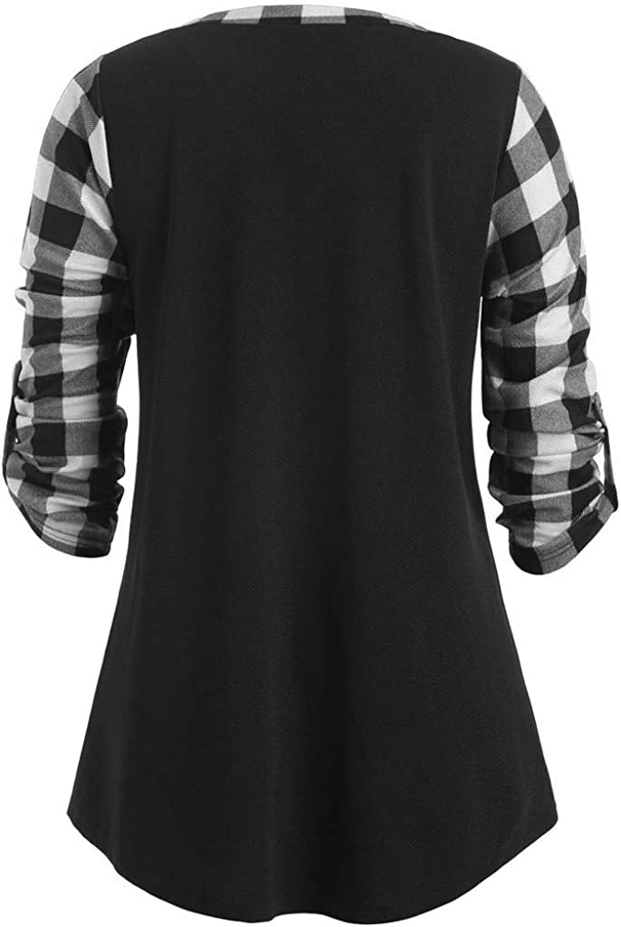 Gergeos Women Casual Pullover Fashion Plaid V-Neck Long Sleeve Tops Loose Ladies Shirts