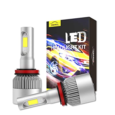 Onewell Led headlight bulbs h11/h9/h8 High/Low Beam All-in-One Conversion Kit,60W 6000K 9600lm Xenon White-Advanced COB Chips Super Bright Cool Fog Light Bulbs (Pack of 2): Automotive