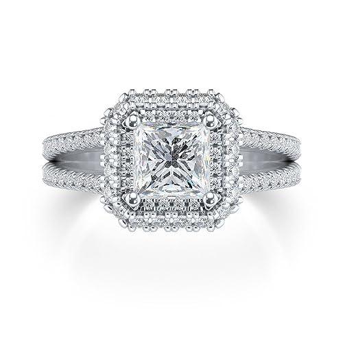 Solitario Halo 1,75 CT corte brillante diamante redondo ...