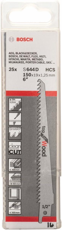 Bosch Professional 25 unidades Hoja de sierra sable S 644 D Top for Wood 150 x 19 x 1.25 mm accesorio de sierra sable para madera