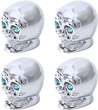 4 Stück Pkw Ventil Av Autoventil Schrader Kunststoff Ventilkappen Auch Geeignet Für Motorrad Fahrrad Totenkopf Schädel Skull Design Silber Auto
