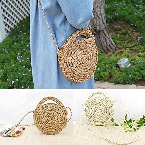 hogar el mano para almacenamiento y retro forma hecho para hombro tejido para mujeres a de mano playa rejillas de verano a estilo B bolsa redonda de cesta Bolso R1fBqwAR