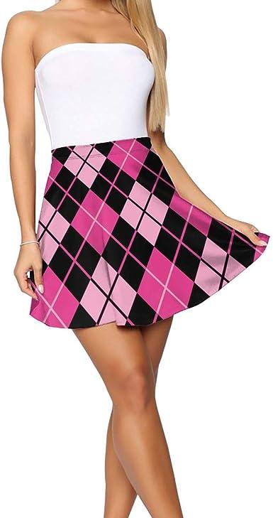 New Womens Plus Size Flared Skater Party Skirts Black Tartan, M