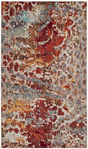 Safavieh Valencia Collection VAL218K Multicolored Distressed Abstract Watercolor Silky Polyester Area Rug (2' x 3')