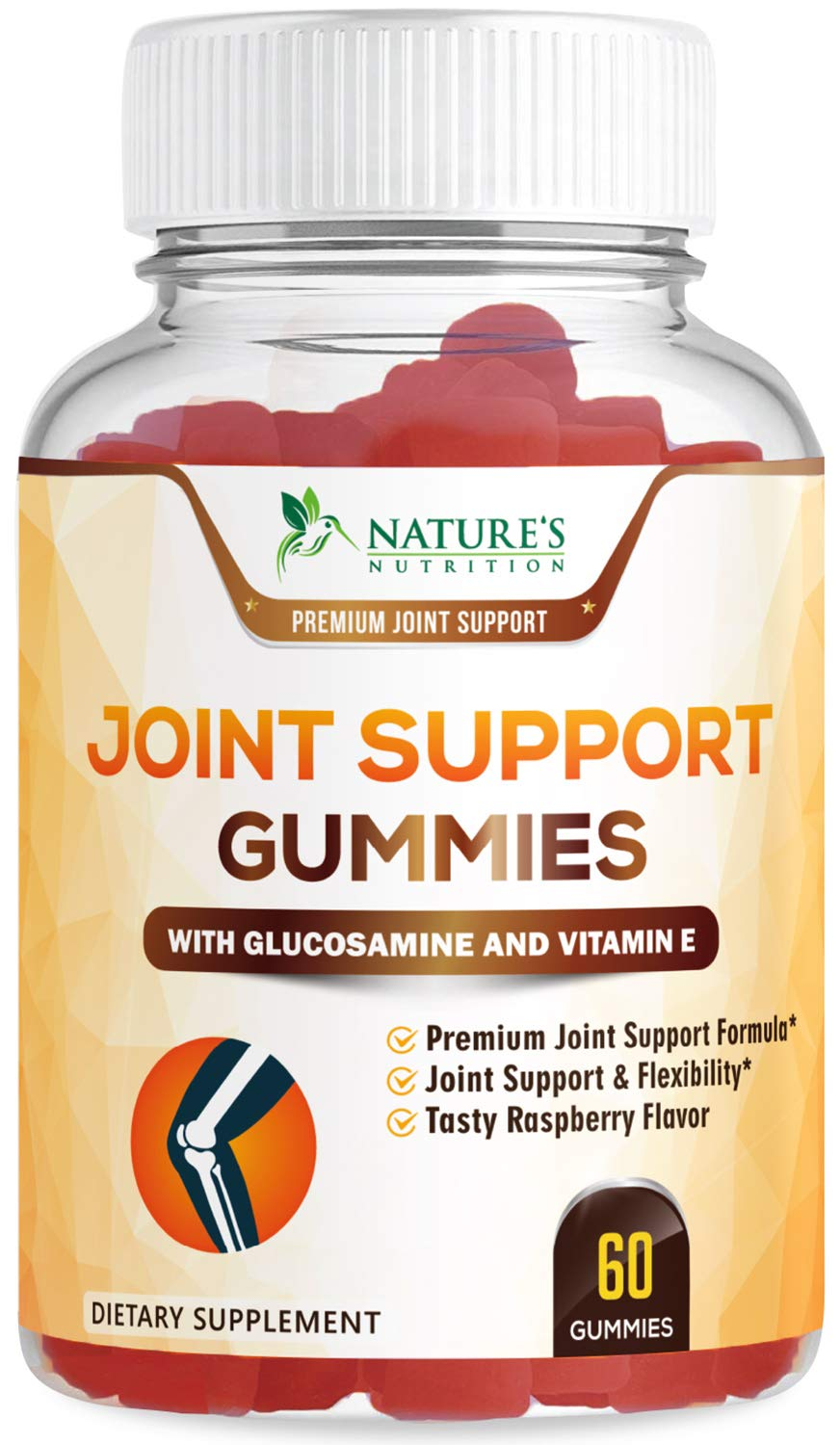 Joint Support Gummies Triple Strength Glucosamine & Vitamin E - Natural Joint Pain Relief Gummy - Made in USA - Best Vegan Anti Inflammatory & Immune Health Supplement for Men and Women - 60 Gummies