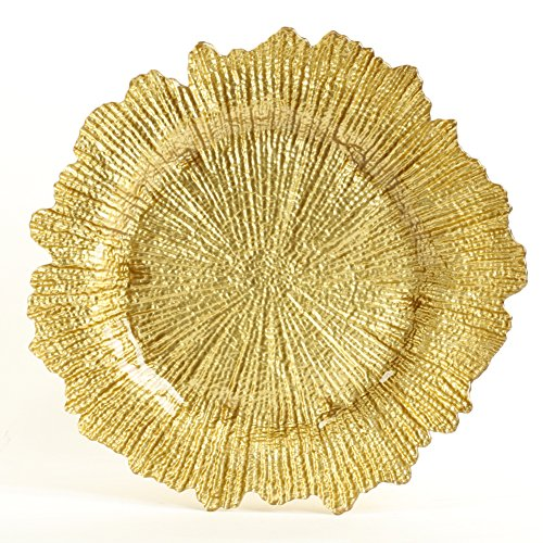 (Koyal Wholesale Bulk Flora Glass Charger Plates, Gold Starburst Charger Plates, Gold, Set of 4)