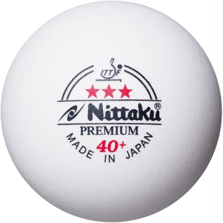 NITTAKU Premium 3 Star ITTF 40+ Plastic Table Tennis Balls, 6 Pieces
