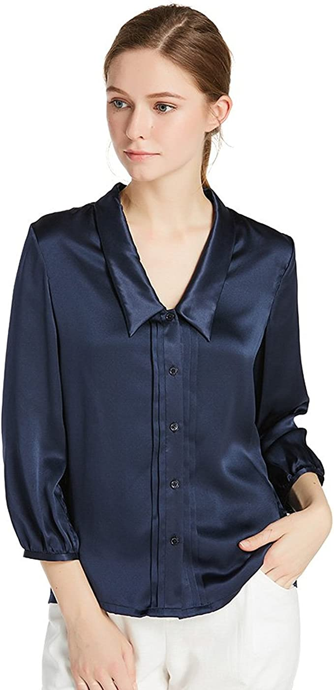 1920s Style Blouses, Shirts, Sweaters, Cardigans LilySilk Womens Charmeuse Silk Blouse Deep V Neck Top 22 Momme Soft Work Ladies Shirt $99.99 AT vintagedancer.com