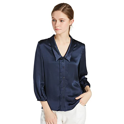 8eb7163dfdf1cd LilySilk Women s Charmeuse Silk Blouse Deep V Neck Top 22 Momme Soft Work  Ladies Shirt Navy