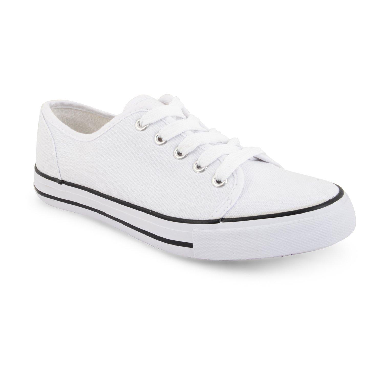 New Ladies Womens Girls Flat Lace Up Plimsolls Pumps Canvas Trainers Shoes  Size, DLC300 Wht UK 8: Amazon.co.uk: Shoes & Bags