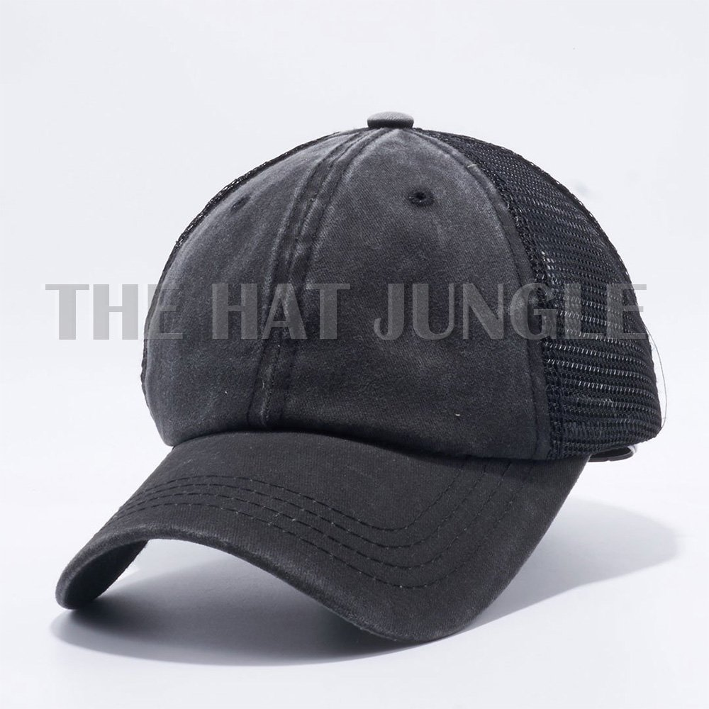 725ec844dbb Amazon.com  The Hat Jungle Plain Dyed Trucker Dad Hat Unstructured Buckle  Strap Baseball Cap  Clothing
