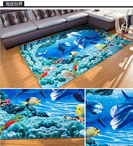 Dolphin Decoration - Blue Sea Theme Dolphin 3D Ocean Dolphin Fishes Pattern Blue Bathroom Floor Carpet - Flannel carpet Water and Skid Resistant Kids Home Decoration
