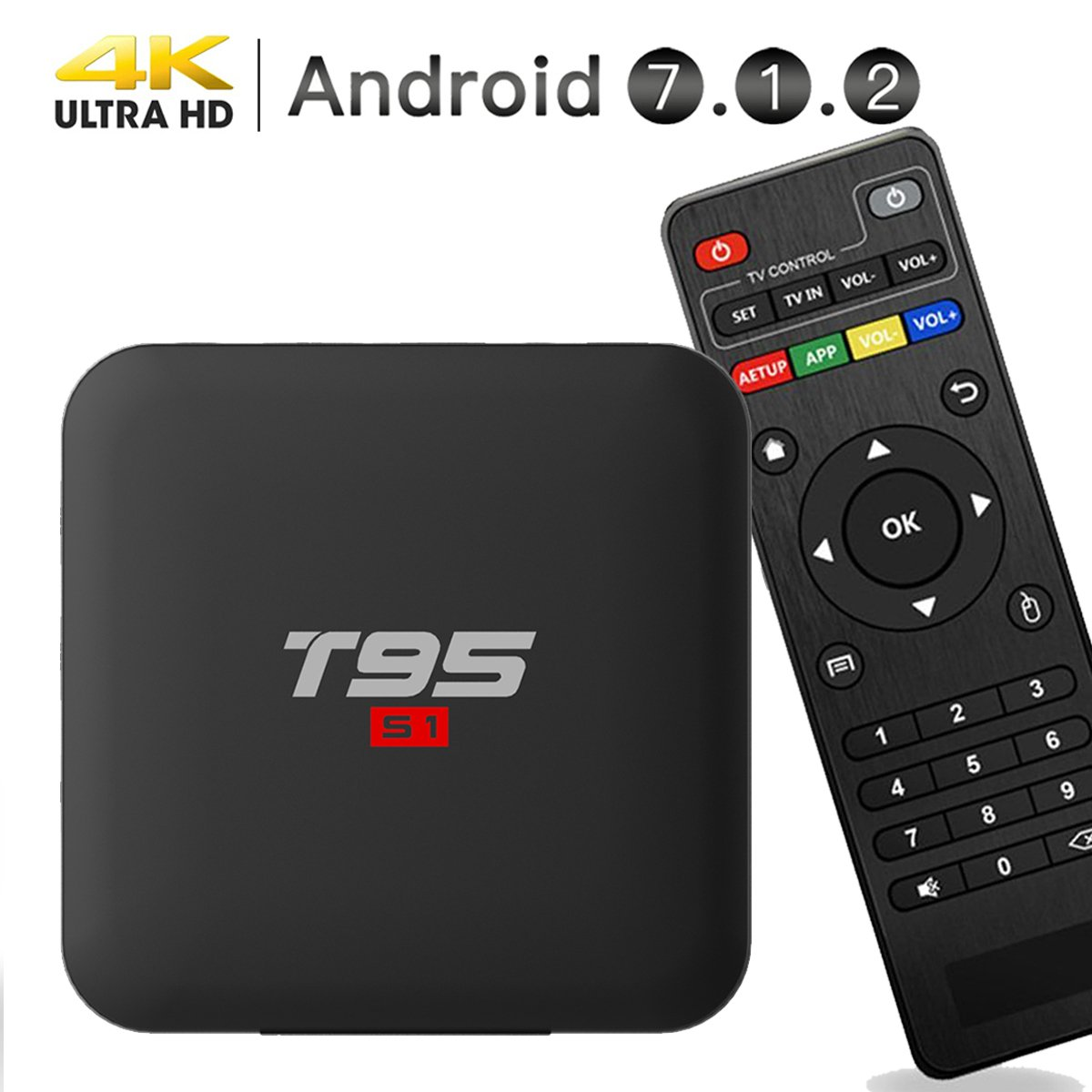 EASYTONE Android 7.1.2 TV Box, 2018 Model Smart TV Box Quad-core 64 Bits /1GB+8GB Supporting 4K (60Hz) Full HD/H.265/2.4G WiFi/HD 2.0 T95 Android Box