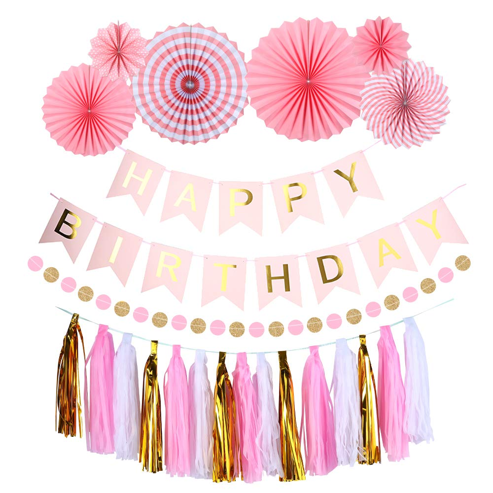 Uever Pink And Gold Birthday Decorations With Happy Party Banner Paper Fans Set Garland Tassels For Girls Or Womens