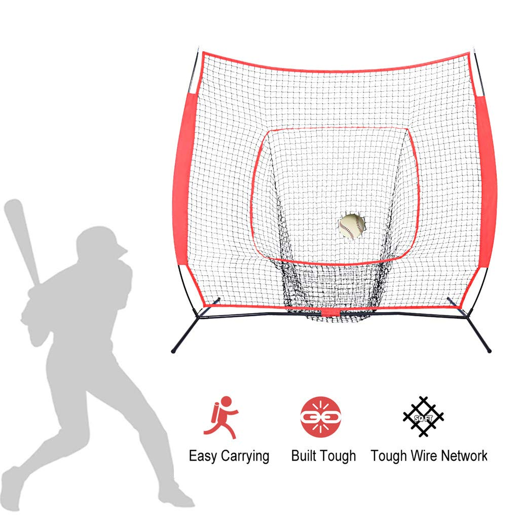 TKI-S Baseball Softball Practice Nets Batting Training Network Baseball Softball Pitching Batting Coach Bags Carrying Bags and Metal Bow Stand Backstop Screen Equipment Training Aid 7 in by TKI-S