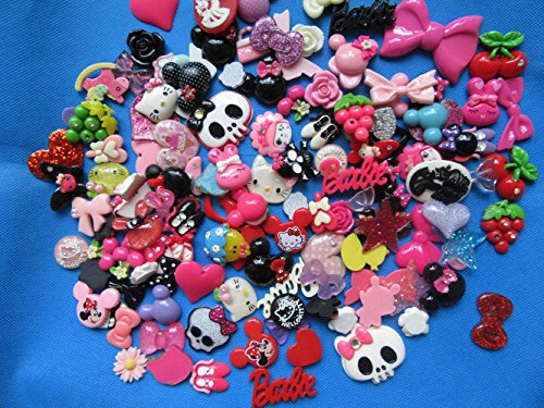 Scrapbooking Charms - YYCRAFT Pack Of Random 60pcs Resin Flatback Scrapbooking Slime Charm DIY¡¡Hair Bow Center-Mix