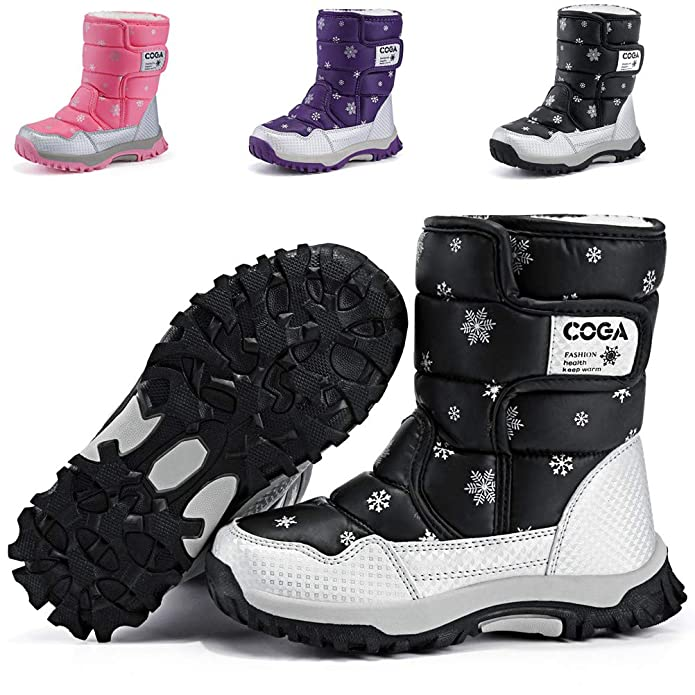 DADAWEN Boy's Girl's Outdoor Waterproof Cold Weather Snow Boots