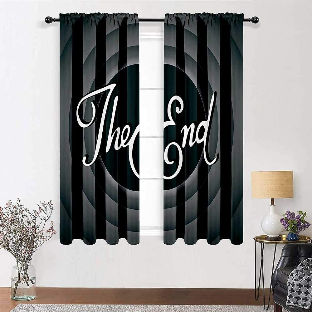 Kitchen Curtains Printed Curtains Blackout Vintage Movie Ending Screen Camera Hollywood Industry Historic Entertainment Film Television Image for Daughters Room Decor 2 Rod Pocket Panels, 52