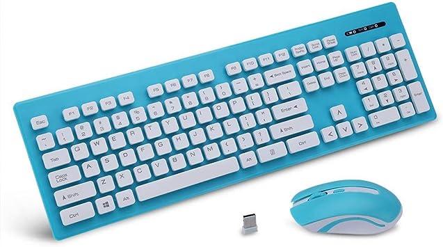 Tangxi Combo de Teclado y Mouse inalámbricos Azules 2.4G ...