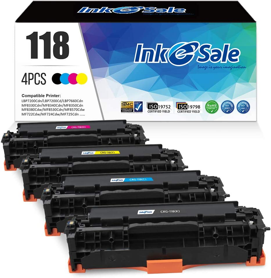 INK E-SALE Remanufactured Toner Cartridge Replacement for Canon 118 CRG118 HP 304A CC530A for use with Canon ImageCLASS MF726Cdw MF8350CDN MF8580Cdw LBP7660Cdn HP Laserjet CP2025n CM2320nf, 4 Pack