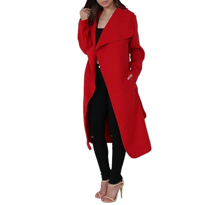 Simply Chic Outlet - Abrigo - Abrigo - Manga Larga - para Mujer Rojo Rosso Small/Medium: Amazon.es: Ropa y accesorios
