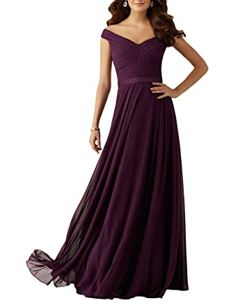 8f6450345dc Udresses 2017 Long Plum Chiffon Bridesmaid Dress with Off-The-Shoulder  Neckline Z21 at Amazon Women s Clothing store
