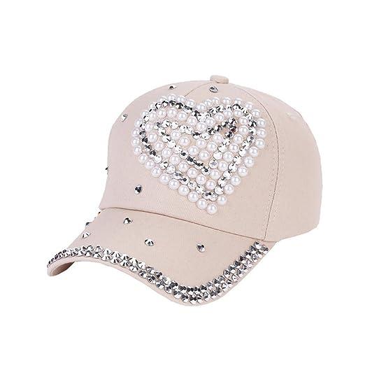 d2609c9726e Iuhan Love Shaped New Fashion Baseball Cap Rhinestone Boy Girls Snapback Hat  (Beige)