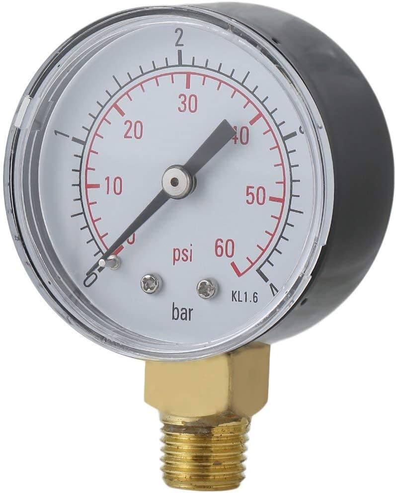 Lorenlli Práctico Piscina Spa Filtro Manómetro de presión de agua Mini 0-60 PSI 0-4 Bar Montaje lateral 1/4 pulgada Rosca de tubo NPT TS-50