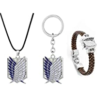 SUPFANS Anime Attack on Titan Survey Corps Necklace and Keychain Wings of Freedom Pendant & Bracelet