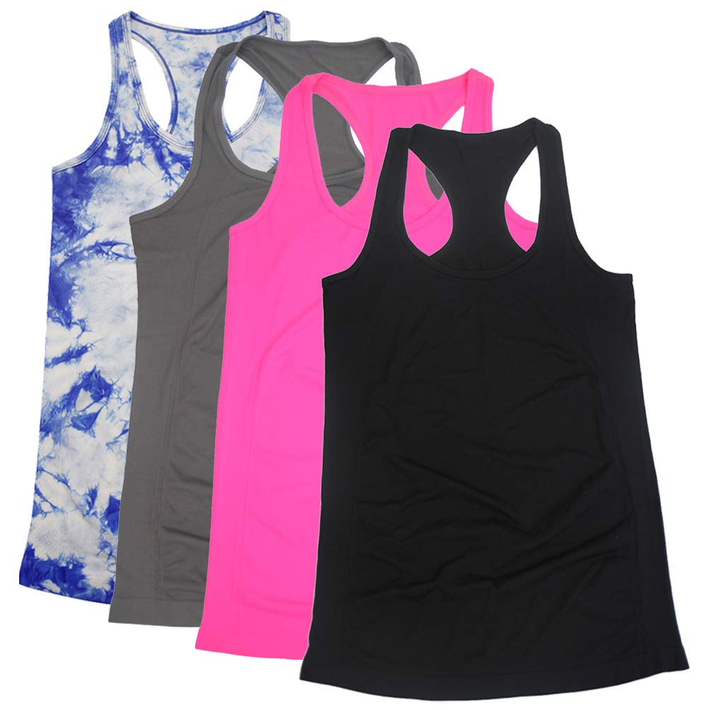 BollyQueena Workout Racerback Cami, Womens Workout Tank Tops Exercise Training TankMulticoloured S 4 Packs