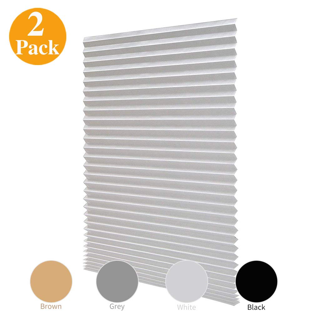LUCKUP 2 Pack Cordless Light Filtering Pleated Fabric Shade,Easy to Cut and Install, with 4 Clips (36''x72''- 2 Pack, White)
