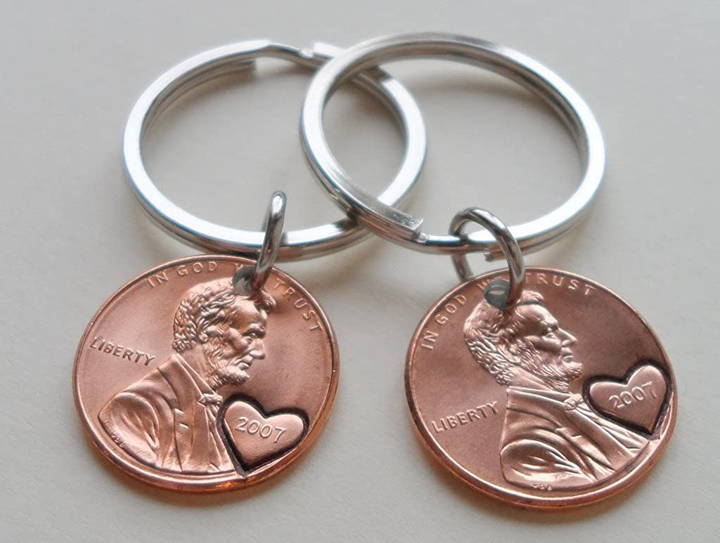Double Keychain Set 2007 USA Penny With Heart Around Year; 12 year Anniversary Gift 81jFRd0JK6L