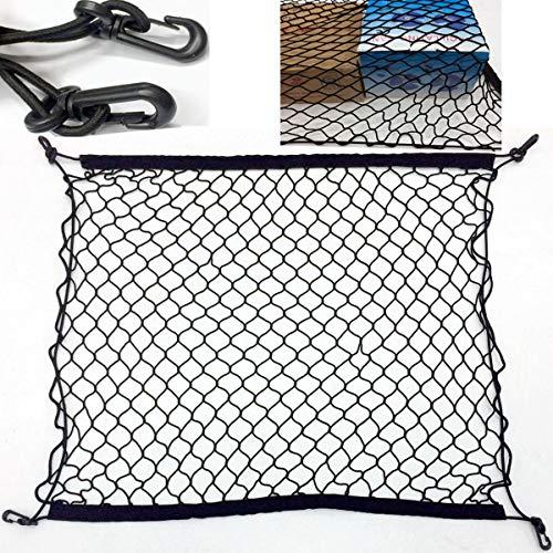 TECHSON Universal Cargo Net with Hooks, Stretchable Nylon Storage Net, Heavy Duty Mesh Organizer (27.5 x 27.5 inches)