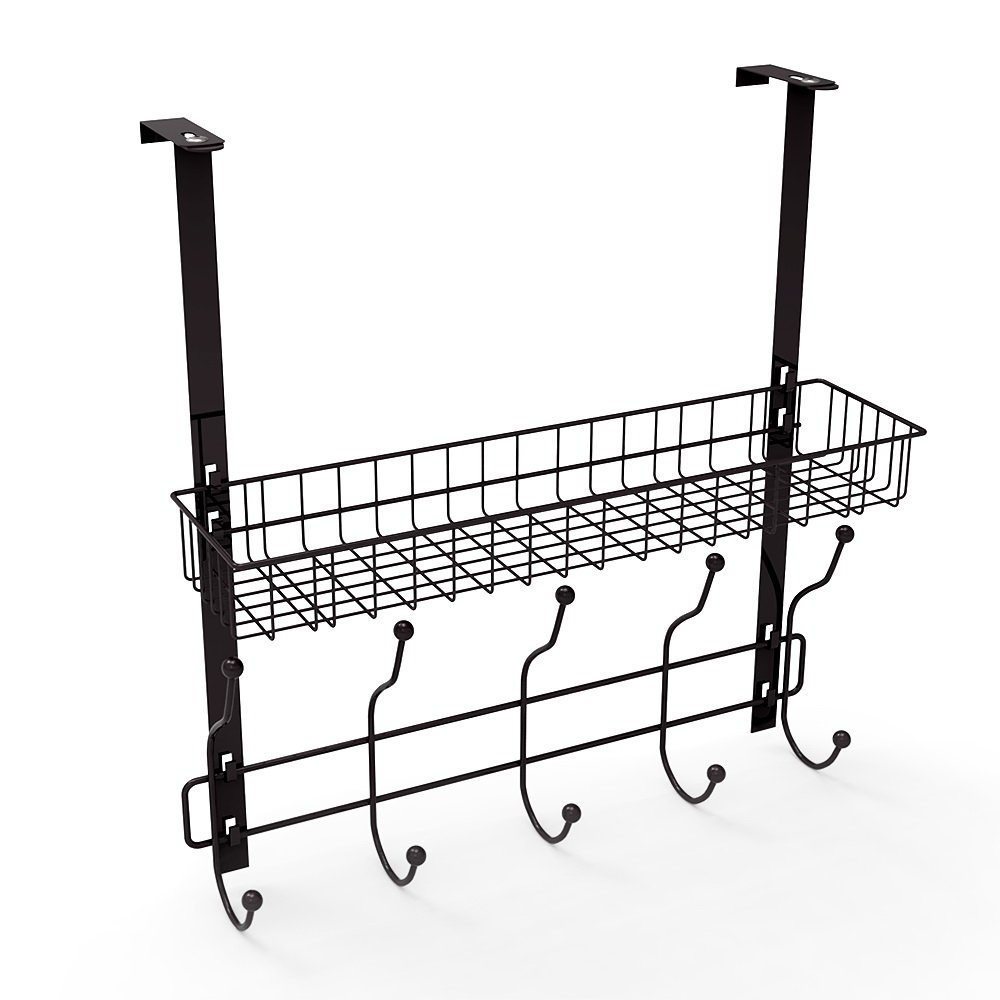 NEX Over The Door Hook Organizer Rack With Basket Storage For Coats, Hats, Robes, Clothes Or Towels - Five Hooks (Black)