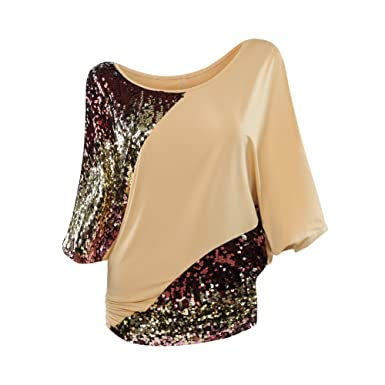 74e97beec2cc1 Poem Future Women s Scoop-Neck Batwing Sleeve Glittery Sequin Blouse Sparkly  Glamouse Tank Top T-