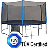 TÜV (GS) Approved Zupapa® 10 12 14 15 FT Trampoline with Ladder & Pole and Enclosure net & Safety Pad & Jumping Mat & Shoes Bag & Cover & Spring Pull T-hook Your Safety choice