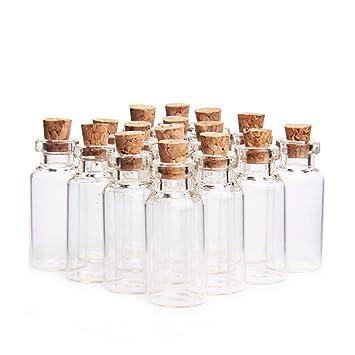 danmu pequeño, arte 50pcs 5 ml Mini botellas de vidrio tarros con tapón de corcho