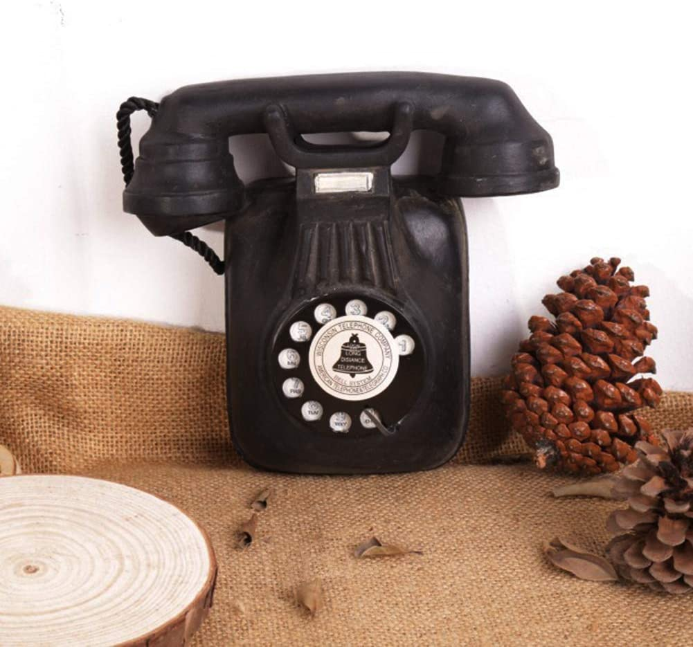 O15fuqiJHO Synthetic Resin Vintage Shabby Wall Mount Telephone Craft Ornament Art for Bar Club Home Decoration Black A