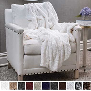 The Connecticut Home Company Original Luxury Faux Fur Throw Blanket, Extra Soft, Large Plush Blankets, Warm & Hypoallergenic Throws for Couch or Bed, Machine Washable, Microfiber 65  x 50  (Ivory)