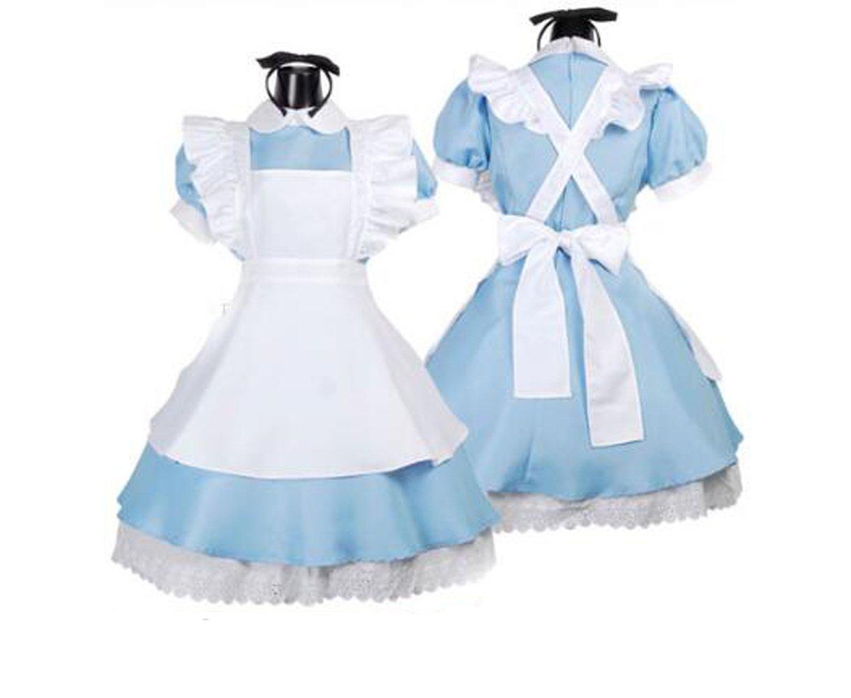 Zhiqing Blue Alices Wonderland Lolita Maid Cosplay Costumes Fancy Dress Sets Kits Apron Size M