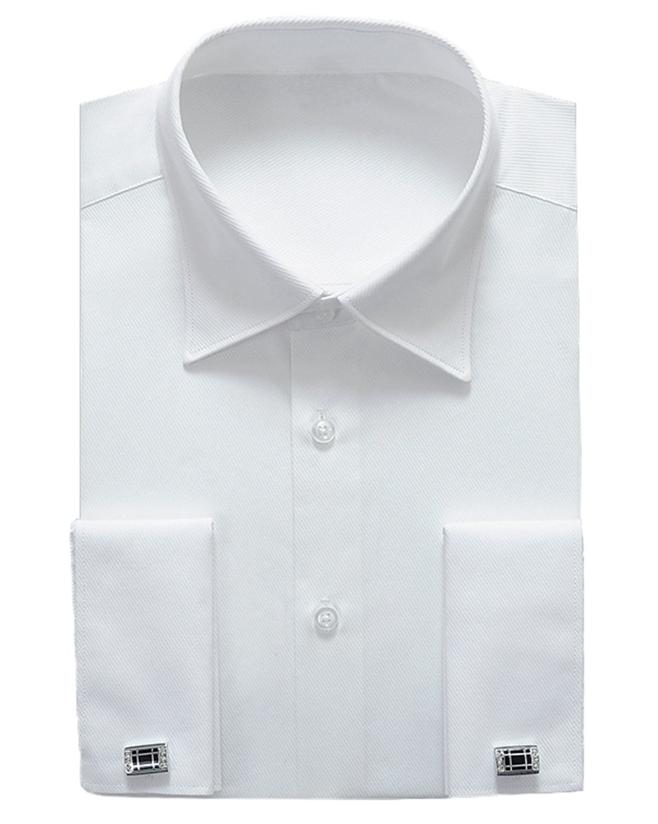 Alimens & Gentle French Cuff Regular Fit Dress Shirts (Cufflink included) (17.5'' Neck - 34''/35'' Sleeve, White New)